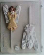 ANGEL WITH DOVE LOLLIPOP CLEAR PLASTIC CHOCOLATE CANDY MOLD AO115