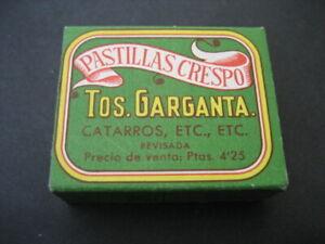 ANTIGUA CAJA CARTON FARMACIA. PASTILLAS CRESPO. TOS, GARGANTA