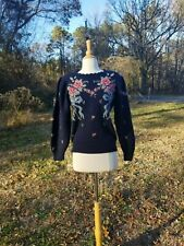 Vintage does 40-50s Herman Geist Navy woolen romantic floral pullover sweater S