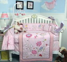 PINK CRIB BEDDING SET FAIRY GARDEN Infant Baby Girl Nursery 14 Pc Quilt Sheet