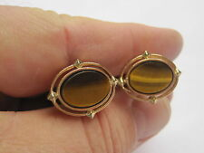 Dante Gold-Tone Cufflinks with Genuine Tiger's Eye Stones, Sharp!