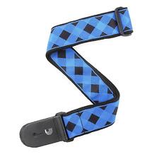 """D'Addario 2"""" Guitar Strap, Buffalo Check Design in Blue & Black, T20W1405"""