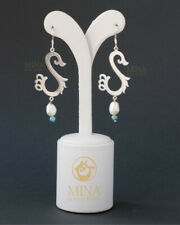 Silver Earrings with Turquoise & Pearl