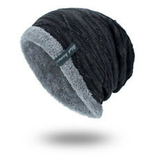 Mens Knit Slouch Baggy Beanie Hat Cosy Fur Fleece Liner Ski Cap Warm Winter