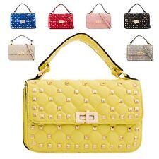 Ladies Studded Fx Leather Cross Body Shoulder Bag Quilted Satchel Handbag KT2175
