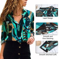 Women Long Sleeve Blouse V Neck Loose Ladies Shirt Geometric Print Button Down