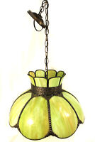 Vintage Victorian Style Pendant Light Fixture Slag Glass Shade Beautiful Green