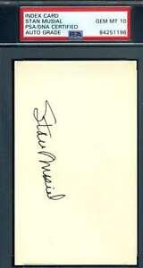 Stan Musial Gem Mint 10 PSA DNA Coa Autograph Hand Signed 3x5 Index Card
