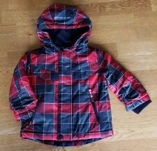 Cat and Jack Ombre Red Black Plaid Fleece Ski Winter Jacket Baby Boys Size 12M