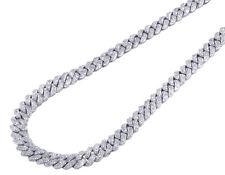 White Gold Miami Cuban Genuine Diamond Chain Necklace 8MM 12.15 CT 21ins