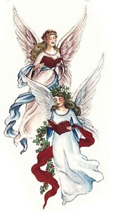 Christmas Holly Choir Angels Select-A-Size Ceramic Waterslide Decals Xx