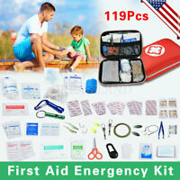 119pc First Aid Kit Bag All Purpose Emergency Survival Home Car Medical Bag