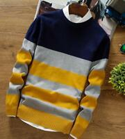 Striped Knitting Cashmere Blend Sweater Mens Pullover Sweaters Jumper O Neck