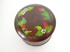 Little ROUND Wood Trinket Box Hand Painted Strawberries Signed SHIELDS Vintage