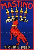 Mastino Acquavite 1920 Sardegna Italy Vintage Poster Print Retro Liquor Advert