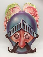 Vintage Halloween Mask Paper Card Knight In Medieval Armour Ghouls N Ghosts
