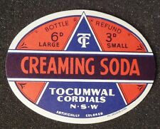 1950s Bottle Label Creaming Soda Tocumwal Cordials Tocumwal NSW Australia