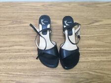 "WHITE MOUNTAIN  ""JUILE"".  BLACK LEATHER. ANKLE STRAP WEDGES. SZ. 6.5M *002713*"