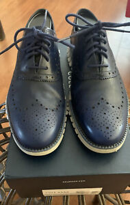 Cole Haan Men's Zerogrand Wing OX Oxford Marine Blue Leather  Size 8 W/Box $250