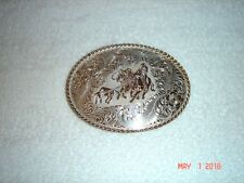 Vintage DIABLO Sterling Silver Raised Horses Two Cowboys and a Calf     NEW