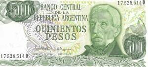 Argentina 500 Pesos 🌎🗿 P-303b; UNC; Rare Thread Variety 🗿 Army Monument