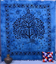 Elephant Decorative Boho Queen Wall Hanging Tree Of Life Blue Tapestry Throw