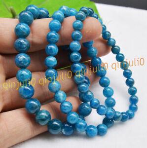 Genuine 6/8/10mm Natural Blue Apatite Round Gems Beads Stretch Bracelets 7.5''