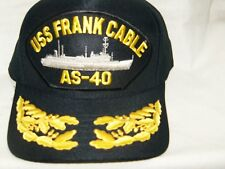 US NAVY CAP ORIGINAL USS FRANK AS-40 CABLE Made in USA Double Eggs One Size
