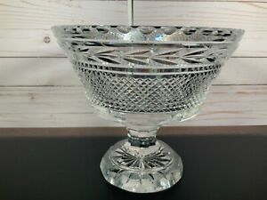 Waterford Crystal Large Pedestal Bowl Centerpiece with Laurel and Diamond Cuts
