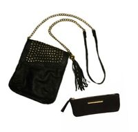 Steve Madden Black Leather Crossbody Purse Bag and Wallet, Gold Chain & Studded