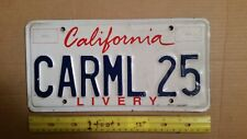 License Plate, California, Livery (Limo, Limousine), CARML 25, Carmel (Pebble B)