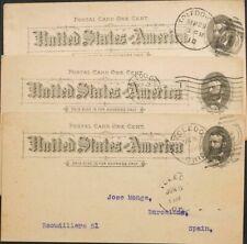 Estados Unidos, Entero Postal. Sobre Yv . 1909. Conjunto de tres Tarjetas Enter