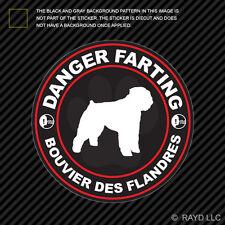 Danger Farting Bouvier des Flandres Sticker Decal Self Adhesive Vinyl dog canine