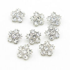 8 X Silver Rhinestone Wedding Buttons Dress DIY Flatback Buttons Embellishment
