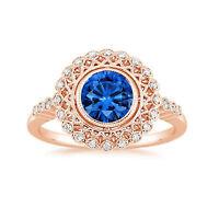1.50 Ct Brilliant Cut Real Diamond Blue Sapphire Ring 14K Rose Gold Size 5 6 7 8