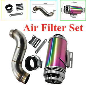 Motorcycle Scooter Exhaust Intake Modified Filter Colorful Lights Air Filter Set