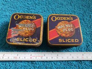 2 Vintage Ogden's Walnut Plug Sliced tobacco tins - old retro collectable