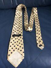 "CHRISTIAN DIOR $99 Silk Necktie Pale Yellow w/Blue Squares 100% Silk Classic 59"""