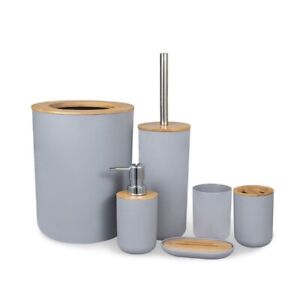 6Pcs Bamboo Bathroom Accessories Set Trash Can Toothbrush Holder Toilet Brush