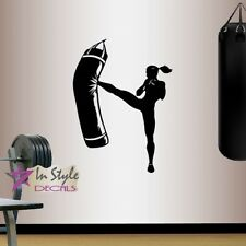 Vinyl Decal Girl Boxer Boxing Punching Bag Sports Fitness Gym Wall Sticker 772