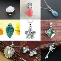925 Silver Crystal  Gemstone Pendant Necklace Chain Women Wedding Party Jewelry