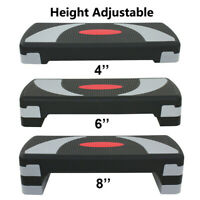 """30'' Adjustable Exercise Aerobic Step Fitness Stepper W/Risers 4"""" - 6"""" - 8"""" Home"""