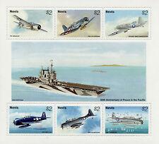 Nevis 1995 Gomma integra, non linguellato SECONDA GUERRA MONDIALE WW2 VJ giorno 50th ANNIV Pace del Pacifico 6v M/S AVIAZIONE FRANCOBOLLI