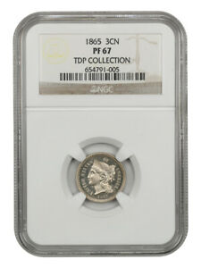 1865 3cN NGC PR 67 - Scarce First Year Proof - 3-Cent Nickel
