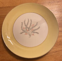 "Vintage HOMER LAUGHLIN Rhythm MAYTIME 10"" Dinner Plate Yellow Gold Band Flowers"