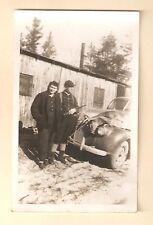VINTAGE PHOTO HUNTER RIFLE DEAD DEER ON CAR 1941 MICHIGAN BUCK CARCASS 1 of 3