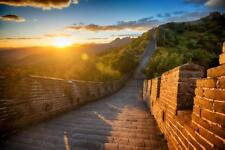 Sunset Over the Great Wall of China Photo Art Print Mural Poster 36x54 inch
