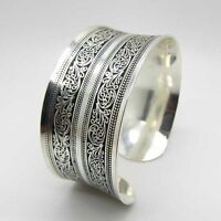 1x Fashion Women Chinese Totem Bangle Cuff Bracelet Tibetan Tibet silver