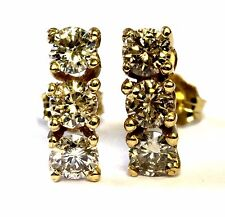 14k yellow gold 1.12ct SI2 K Top Light Brown 3 stone round stud diamond earrings