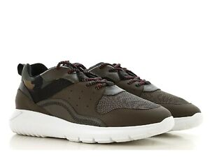 Hogan INTERACTIVE3 men's sneakers shoes in brown leather and camouflage fabric